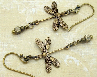 Victorian Dragonfly Earrings with Art Nouveau Style Charms