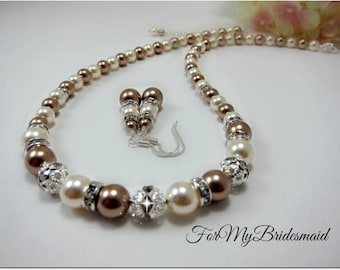 Wedding Jewelry, Bridal Jewelry, Pearl necklace, ivory champagne pearl wedding, Mother of the bride jewelry, Ivory brown pearl necklace
