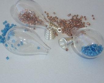 D-02221 - 1 hollow blown glass bead pendant 30x18mm