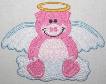Machine Embroidery Design-Filled Design-Animal Angel-Pig