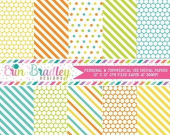 80% OFF SALE Orange Blue Green Yellow Polka Dots & Stripes Digital Papers Printable Digital Paper Pack Personal and Commercial Use
