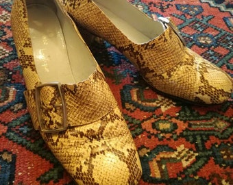 Italian 60's snakeskin leather loafers sz 38