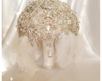 Vintage 1920's Flapper Bride Great Gatsby Brooch Bouquet. FULL PRICE on Feather Diamond Crystal Broach Bouquet with cascading jewelry
