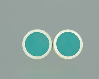 Resin Studs - Teal Blue Resin Studs - Teal Resin Silver Studs - Blue Resin Studs - Resin Silver Posts - Resin Sterling Studs - Small Studs