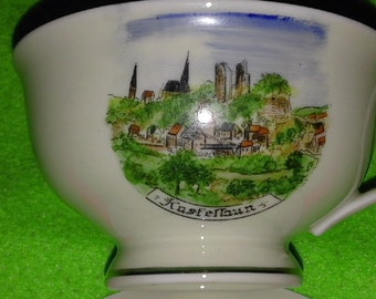 Kl. Coffee cup with saucer, motif City Kastellaun, Germany US Zone