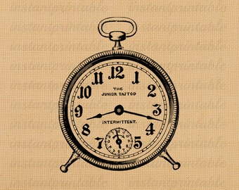 Alarm clock digital image, instant download, printable iron on fabric transfer, downloadable images, clip art, scrapbooking - no. 208