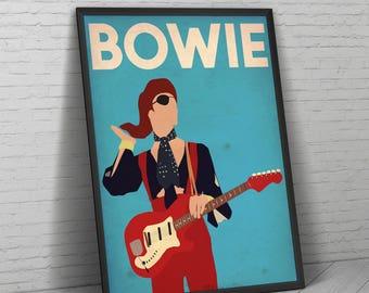 David Bowie Poster, David Bowie, David Bowie Print, David Bowie Art, Ziggy Stardust, Music Poster, Home Decor, Wall Art, Bowie Poster, Bowie