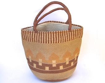 Vintage 70s Natural Woven Purse / Casual Tote Bag / Hippie Bag / Boho Bag /