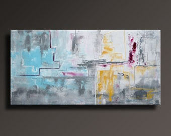 ABSTRACT PAINTING Yellow Gray White Black Blue Magenta Painting Original Contemporary Abstract Modern Art 48x24 wall decor #AB31