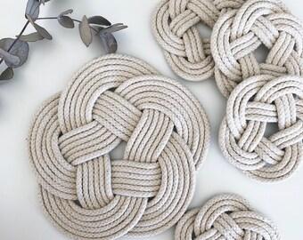 Cotton Rope Trivet & Coaster Set | Coastal | Nautical Rope Kitchen Decor | Handmade Gift