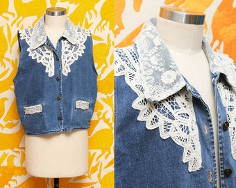 Jean Vest // Lace Denim Vest // 80s 90s White Lacey Appliqué Sleeveless Vest Hipster Grunge Boho Size Large