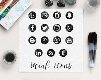 FOLLOW ME, Social Media Icons, Watercolor Black Spots, Watercolor Round Social Icons, Transparent PNG Files, Coupon Code: BUY5FOR8