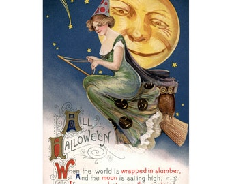 Halloween Witch Card - Witch on Broom Full Moon - Repro Greeting Card