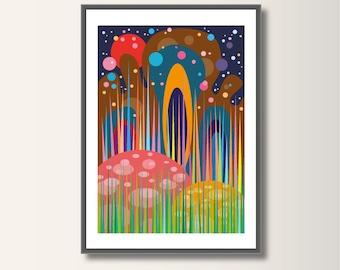 Fairy Tale forest, geometric printing, landscape, geometric, minimalist printing, Scandinavian printing, abstract poster, minimal print