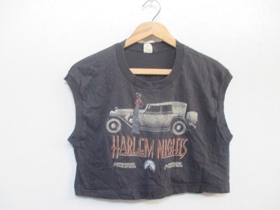 Vtg. Harlem Nights 1989 Film Crop Top 80s T-Shirt / Size Large 59MA9Ygi