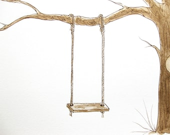 Wedding Tree Guest Book Wooden SWING ADD-ON Original Watercolor Painting