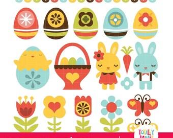Retro Folk Art Easter PNG Set/ Instant Download