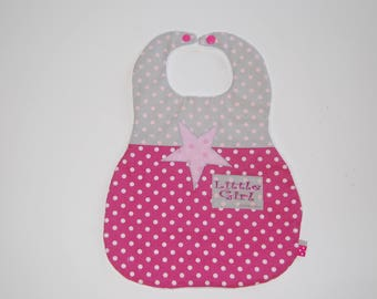 """Baby bib in fabric, pink and grey star pattern, """"Little girl"""", 6-18 months"""