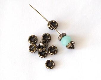 rhinestone metal bronze 4 rondelle beads 8 mm