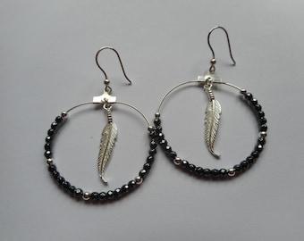Hematite 925 sterling silver feather hoop earrings