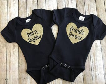 Born together, friends forever onesies, twin girl onesies, best friend onesies, gold glitter, gold and black, glitter bows