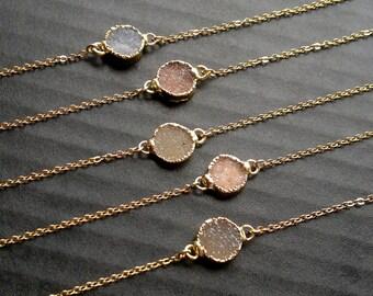 Druzy Bracelet Mineral Bracelet Stone Bracelet Quartz Bracelet Druzy Jewelry Dainty Bracelet Stone Chain Bracelet Boho Bracelet Gold Filled