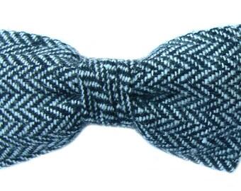 Grey Herringbone Dog Bowtie
