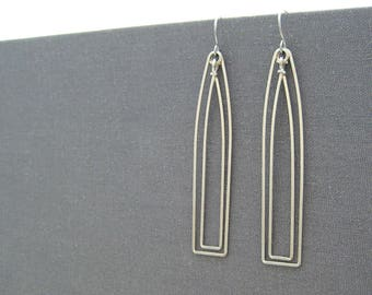 Architectural Earrings with Optional Birthstone - silver art deco wedding jewelry, architect gifts - Cathedral