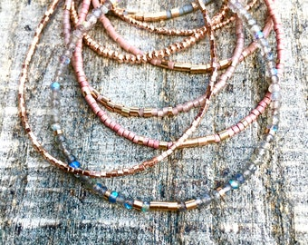 Rose Gold, Blush, Grey, and Labradorite Bracelet Stack or Individual Bracelets