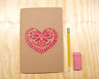 Sketchbook Journal - Red Heart - Valentines Day - Swedish Heart - Block Printed - Hand Bound