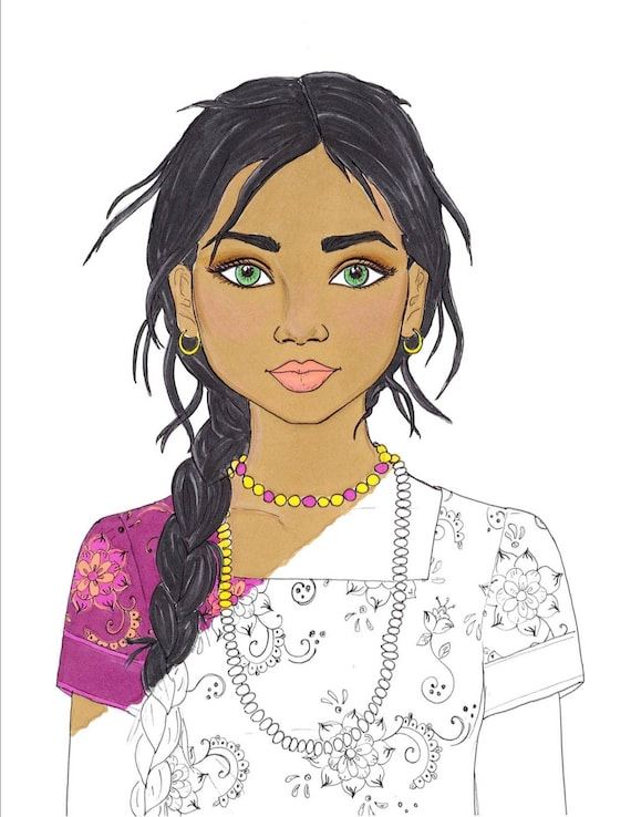 Fashion Coloring Page India Coloring Page Indian Girl