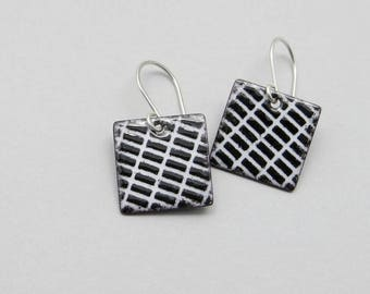 Black and White Square Earrings with Sterling Silver Earwires - Modern Enamel Jewelry - Birthday Gift for her