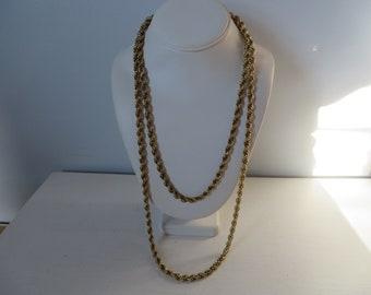 Vintage Monet Rope Gold Chain Necklace - 56 in