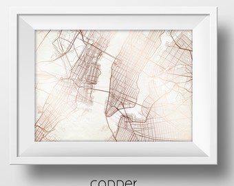 New York City New York Street Map Modern Minimalist Art Print Office or Home Wall Decor