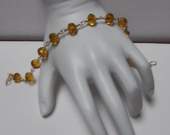 SALE // Wire Wrapped Amber Yellow Crystal Bead Bracelet // Handcrafted 14K Goldfilled Jewelry // Reg Price 50.00