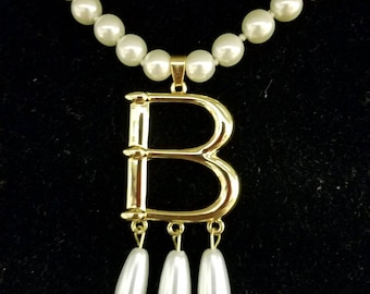 """Free Bonus Necklace With Purchase* Anne Boleyn Gold Plated """"B"""" Pearl Choker Necklace"""
