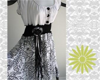 Womens pretty upcycled dress, sleeveless, black and white, recycled, boho, ladies