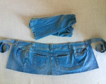 Recycled Jeans Garden Apron and Arm Protectors