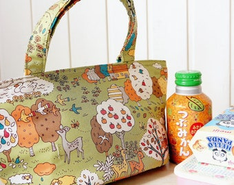 Japanese Insulated Lunch Tote - Japanese Cotton Fabric Free Shipping little forest