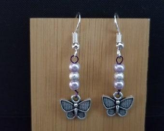 Pink butterflies (bead and wire)