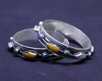 Moroccan Boho Style Berber Bracelet with Enamel