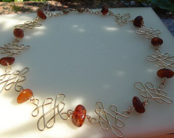 Amber necklace in 585 goldfilled, beautifully!