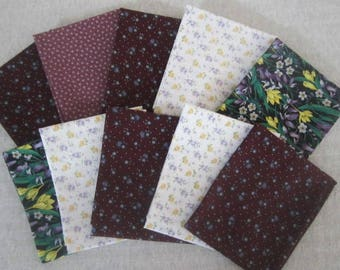 10 Fat Quarter Bundle Pack Vintage Fabrics Purples Fat Quarter Bundle  Purple Floral Fabric