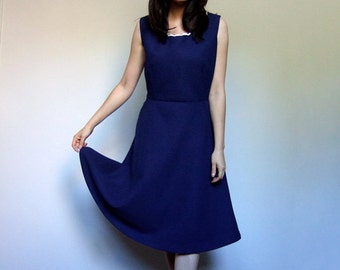 80s Navy Dress Simple Blue Dress Fit and Flare Casual Day Dress - Large L