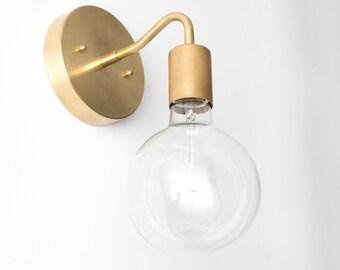 Brass Wall Sconce - Globe Sconce -  Minimal Sconce Light - Gold Wall Lamp - Raw Brass Fixture