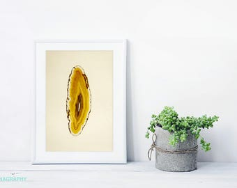 Agate Slice Art Print // Framed Print // Yellow Abstract Print for a modern home // Gem and Mineral Art Print // Yellow Orange Geode Art