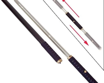 Two Blade Ninja Sword with Sliding Handle and Wood Scabbard Twin Set Dual Bladed