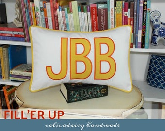 FILL'ER UP Large Applique Monogram Pillow Cover - 14 x 20