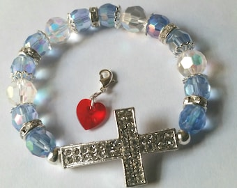 Religious Christian Jewelry Cross Heart Bracelet Religious Jewelry Christian Bling  BR5