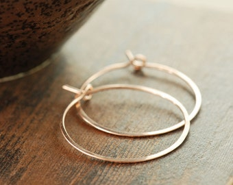 Rose Gold Hoop Earrings, 14k Rose Gold Fill Earrings, Modern Minimal Metal Jewelry, 1 Inch Hoops